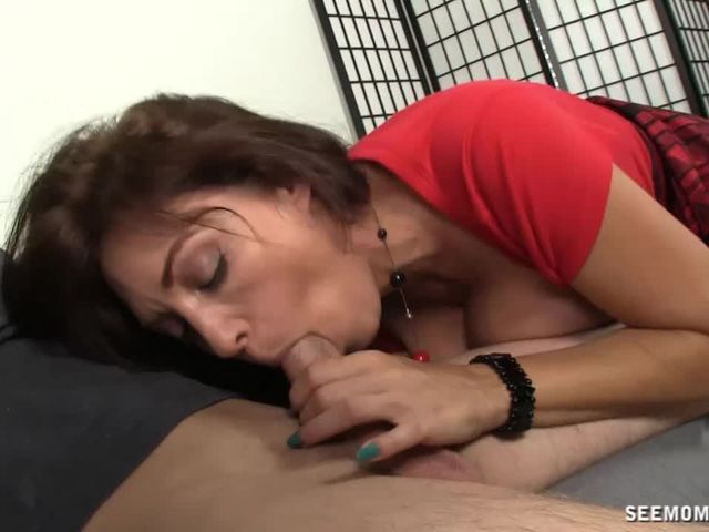 Horny step mom sucking nextdoor cock